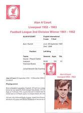 ALAN A'COURT LIVERPOOL 1952 - 1963 RARE ORIGINAL HAND SIGNED PICTURE CUTTING