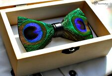 Men's Feather Handmade Pre-Tied Bow Tie (Colour - Peacock feather) BT003