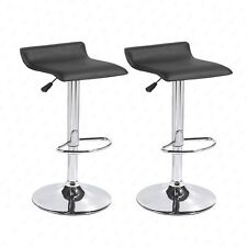 Black Set of 2 Swivel Seat Chrome Base Pub Bar Stools Dinning Kitchen Chair