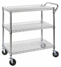Seville Classics 3-Shelf UltraZinc NSF Commercial Utility Cart SHE18304BZ