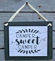 Camper Sweet Camper Primitive Rustic Farmhouse Handmade Wooden Sign