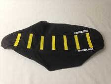 """New """"Suzuki"""" Black with Yellow Ribbed Seat cover RM250 2001-04"""