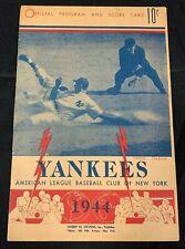 1944 NEW YORK YANKEES WASHINGTON NATIONALS BASEBALL PROGRAM/SCORE CARD UNSCORED