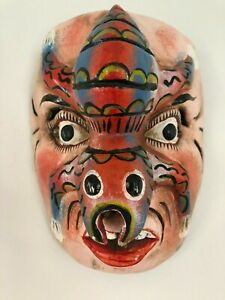Hand Carved & Painted Wooden Collectable Japanese Mask 23cm