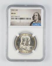 1963 MS65 Franklin Half Dollar - 90% SILVER - NGC Graded *908