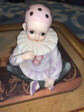 "Vintage Mann Clown Mime Bisque Child Porcelain Rotating Music Box, 1980 Japan 6"""