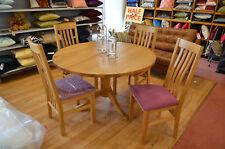 Oak Round Pedestal Dining Table 120cm & 4 Corndell Purple Chairs Kitchen Set