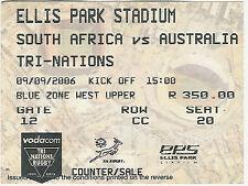 Australia del Sud Africa V 9 SETTEMBRE 2006 Ellis Park, Johannesburg Ticket Rugby