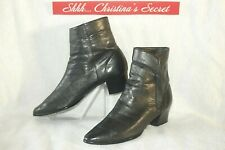 APOSTROPHE Womens Ankle Boots Black Leather Booties Diana Sz 7.5 M * VG++/XLNT