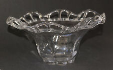 Duncan Miller Clear Glass Bowl with Crocheted Open Lace Ruffled Edge -Canterbury