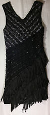 LARGE, BLACK DRESS W FRINGE & RHINE STONES BY G.D.G.!