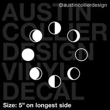"""5"""" MOON PHASES vinyl decal car window laptop sticker - new full crescent"""