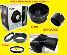 0.43X WIDE ANGLE LENS W/ MACRO 67mm+ADAPTER FOR NIKON COOLPIX L120 L310 COOLPIX