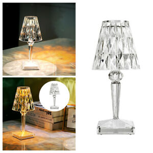 Crystal Table Lamp Bedside Nightstand Desk LED Light for Bedroom Living Room