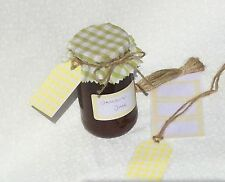 JAM COVERS LIME GINGHAM x12+ sticky jar labels+tags+twine fit jar lids 54-73mm