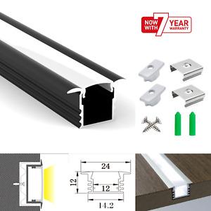 ATOM LED Strip Aluminium Recessed Profile Black Milky Cover Cabinet Black