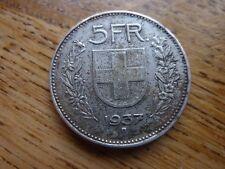 1937 SUISSE ARGENT 5 FRANC/FRANKEN Rare Coin