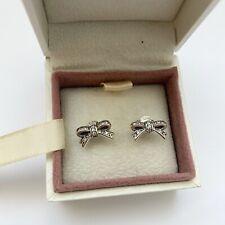 Pandora Silver Delicate Bow Stud Earrings Ale S925