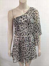 Miso - Light Stone Mix Leopard Print One Shoulder Dress Size UK 10 (O906)