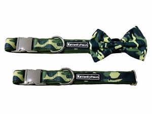 Green  Camouflage army military working dog cat puppy collar bow