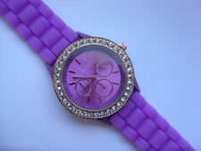 Lovely Geneva Gold and Crystal Faced Pattern Quartz Watch Purple Strap