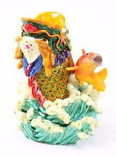 Oriental Theme Pen Holder Colorful Dragon Carp Soar Above Office Feng Shui Decor