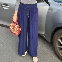 NAVY BLUE PLEATED TROUSERS CULLOTES UK STOCK modest muslimah Eid