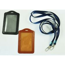 2 Pcs Faux Leather Business ID Badge Card Vertical Holders Black Brown H5Q9