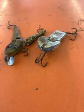 Lot of 2 Vintage Wooden Frog Lures Tackle No Markings Wotta Frog?