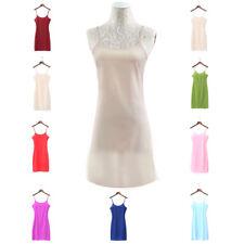Ladies Chiffon Strappy Cami Full Slip Under Dress Long Vest Underskirt Sleepwear