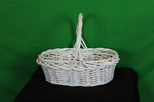 White Woven Vine Easter Basket Decorative Collectible Doll Bunny Home Craft