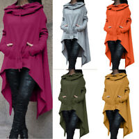 Women High Low Hooded Pockets Casual Daily Hoodie Sweatshirt Pullover Tops Coat