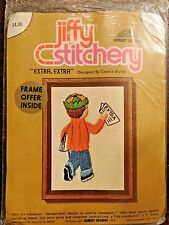 Jiffy Stitchery kit sealed embroidery Sunset Designs paper boy news Extra Extra