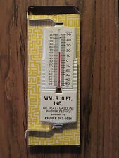 Vintage WM R GIFT INC Boyertown PA OIL HEAT GASOLINE Sign / Thermometer