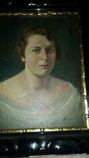 Antikes Bild Gemälde Frauenportrait 20 /30er Jugendstil signiert Originalramung