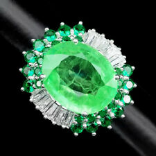 GREEN EMERALD RING SIZE 6 OVAL 12.10CT.SAPPHIRE GARNET 925 STERLING SILVER WOMAN