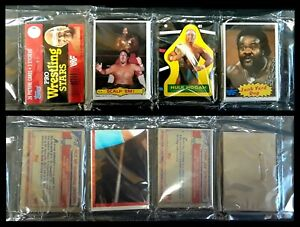1985 Topps Wresting Stars Rack Pack - Hulk Hogan Sticker, Junk Yard Dog on Top