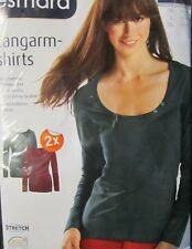 2 x Damen Langarmshirt * XL 48/50 * Grün / Bordeau  * esmara * OVP