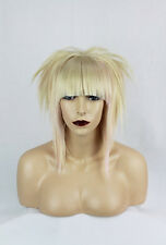 Blonde & Pastel Pink Synthetic Bob Wig, Heat Resistance, Unisex, One Size.