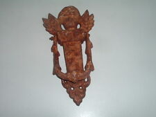 Antique Rusted Victorian Angel Cast Iron Door Knocker Rare
