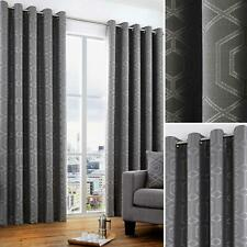 Grey Eyelet Curtains Geometric Jacquard Ready Made Lined Ring Top Curtain Pairs