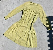 Vintage 1930s Chartreuse Green Silk Dress Embroidered Daisies Ruching Longsleeve