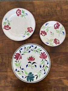 3 Antique Handpainted Spongeware Plate Plates Ironstone