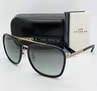 New Coach sunglasses HC7089 931811 58 Black Gold Gradient Chain AUTHENTIC 7089