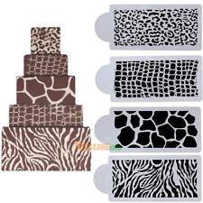 4pcs Animals Skin Cake Stencil for Wedding Fondant Cake Decorating Tool Mold