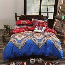 Soft Bedding Duvet Cover Set Blue Bohemian Oriental Boho Chic Mandala Full/Queen