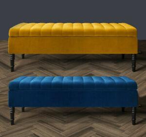 Large Ottoman Storage Box Footstool Pouffe 2 Seater Bench Seat Soft Plush Velvet