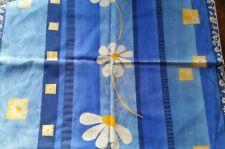Dekostoff aus Baumwolle, blau mit Blüten,  100 x 68 cm