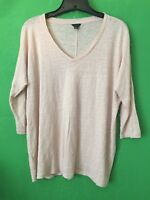 7597) ANN TAYLOR XS S mauve pink pullover loose fit linen knit top XS