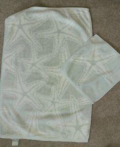 "Pottery Barn ""Star Fish""  HAND TOWEL & WASHCLOTH  -Turkish Cotton"